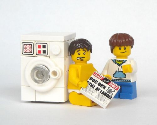 LEGO Minifigure doing his laundry