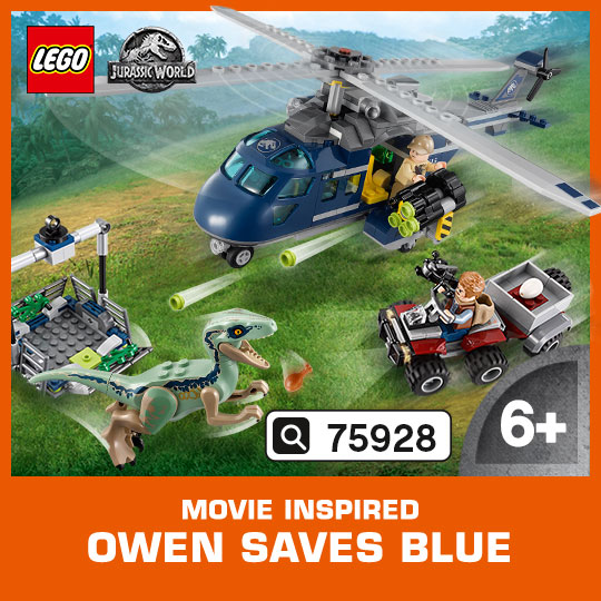Unite Owen with the faithful Velociraptor in this thrilling Blue's Helicopter Rescue set, inspired by Jurassic World™.