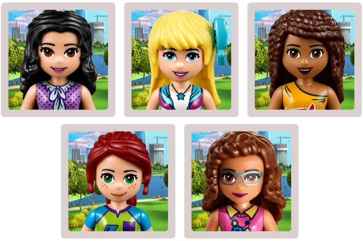 LEGO Friends characters Stephanie, Mia, Andrea, Emma and Olivia